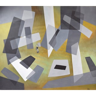 """1960's Mid-Century Modern Abstract Painting """"Abstraction"""" Dick Fort Chicago Preview"""