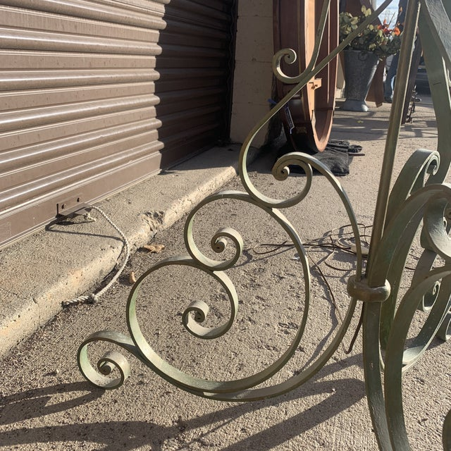 1920s Antique French Green Wrought Iron Floor Lamp For Sale - Image 9 of 13