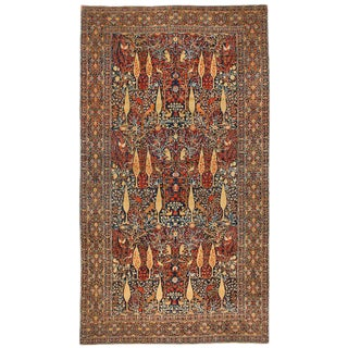 Exceptional Rare Antique Oversize Mohtasham Kashan Carpet For Sale