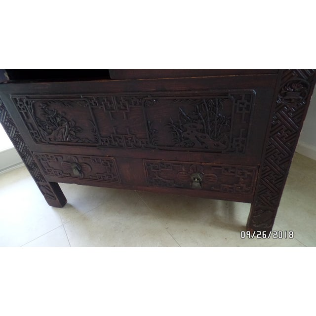 Gold Antique Chinese Wardrobe- Wedding Chest For Sale - Image 8 of 13
