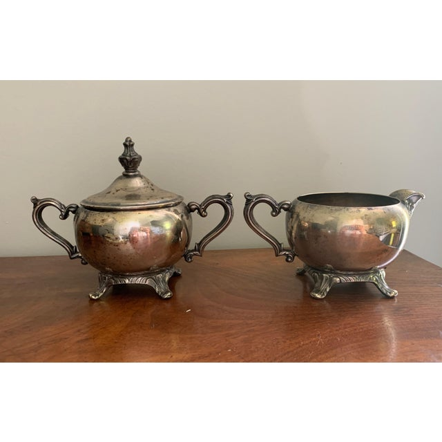 Early 20th Century Antique Silver Cream & Sugar Set- 3 Pieces For Sale - Image 5 of 11