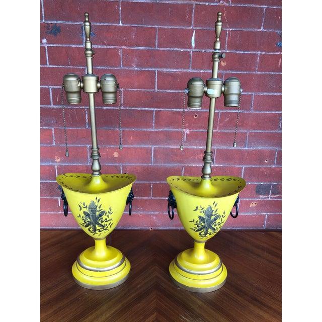 Warren Kessler Painted Metal Urn Lamps - a Pair For Sale - Image 12 of 12
