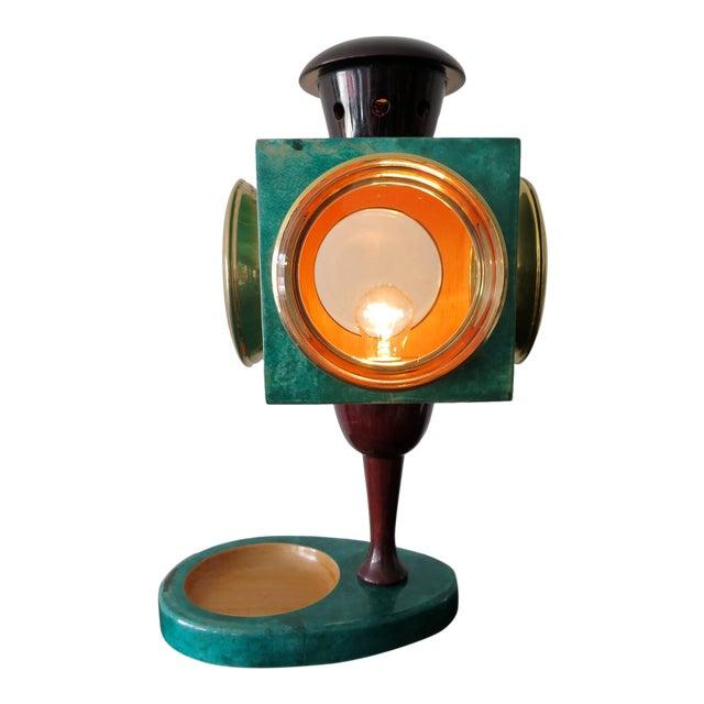 Turquoise 1970s Vintage Aldo Tura Goatskin Lantern Lamp For Sale - Image 8 of 8
