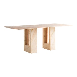 Rosa Portuguese Marble Dining Table in the Style of Carlo Scarpa and Marcel Breur For Sale