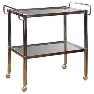 Chrome Two Tier Bar Cart For Sale