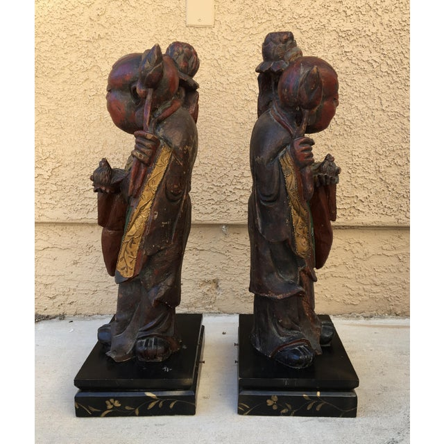 HeHe Erxian Twins Chinese Carved Wood Statues - A Pair For Sale - Image 10 of 11