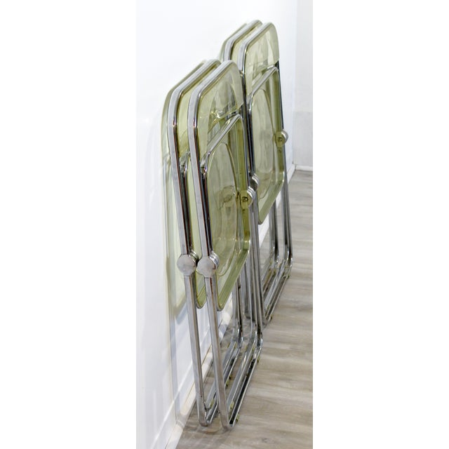 1960s Vintage Castelli Mid Century Modern Lucite Chrome Folding Side Chairs - Set of 4 For Sale - Image 10 of 12