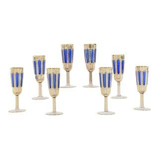 Set of Eight Moser Crystal Panel Cut Cobalt Blue Enamel & Gold Champagne Flutes For Sale