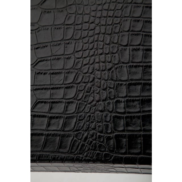 Leather Black Alligator Embossed Leather End Tables - a Pair For Sale - Image 7 of 11