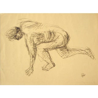 Vintage Crouching Figure in Ink For Sale