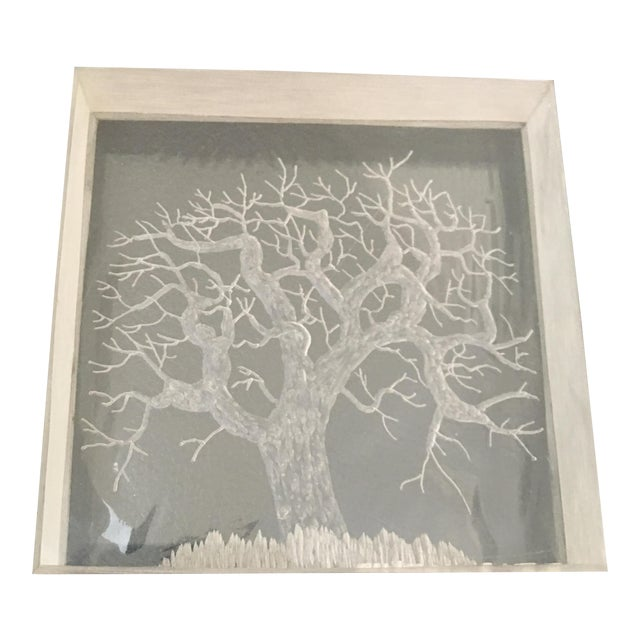 Mid-Century Hand Etched Acrylic Cube For Sale