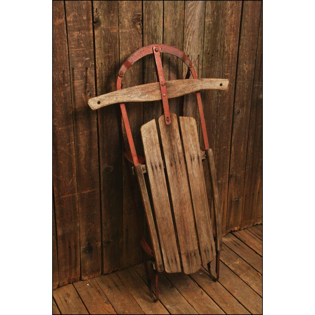 Vintage Weathered Wood & Metal Runner Sled -- Champion - Image 2 of 10