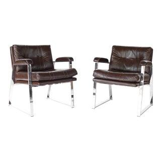 Mid Century Modern Milo Baughman Style Armchairs- A Pair For Sale