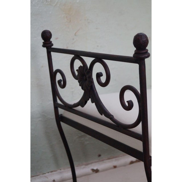 Black Iron Frame Regency Style Bench For Sale - Image 5 of 10