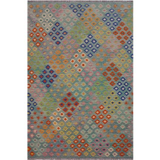 Contemporary Kilim Amiee Green/Orange Hand-Woven Wool Rug - 6'6 X 9'9 For Sale