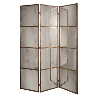 Tall Antique Mirror Panel Screen For Sale