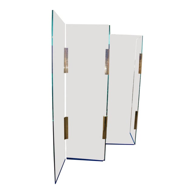 Five-Panel Glass and Brass Hinge Room Divider For Sale
