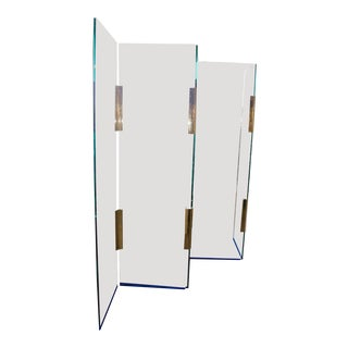 Pace Style Five-Panel Glass and Brass Hinge Room Divider For Sale