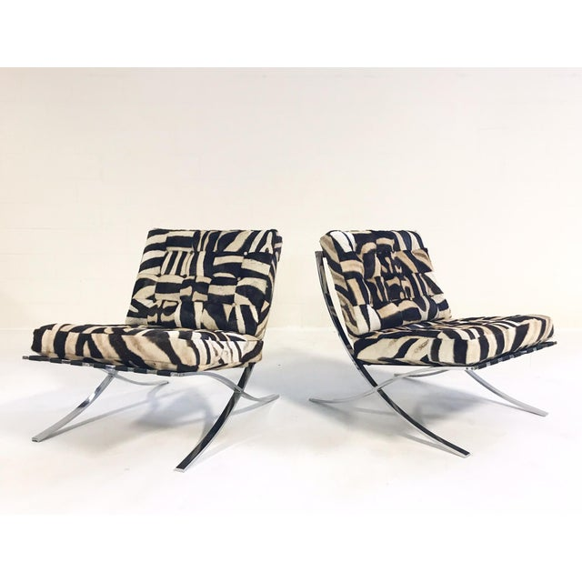 Metal Vintage Barcelona Style Patchwork Zebra Hide Chairs - A Pair For Sale - Image 7 of 7