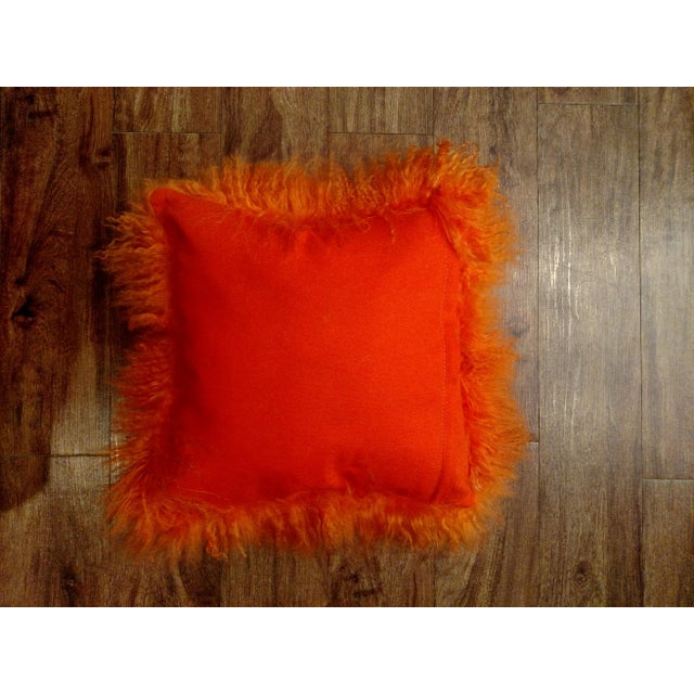 Boho Chic Orange Mongolian Lamb Pillow For Sale - Image 3 of 3