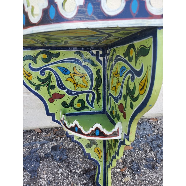 Moroccan Moroccan Hand Painted Wooden Corner Shelf For Sale - Image 3 of 7
