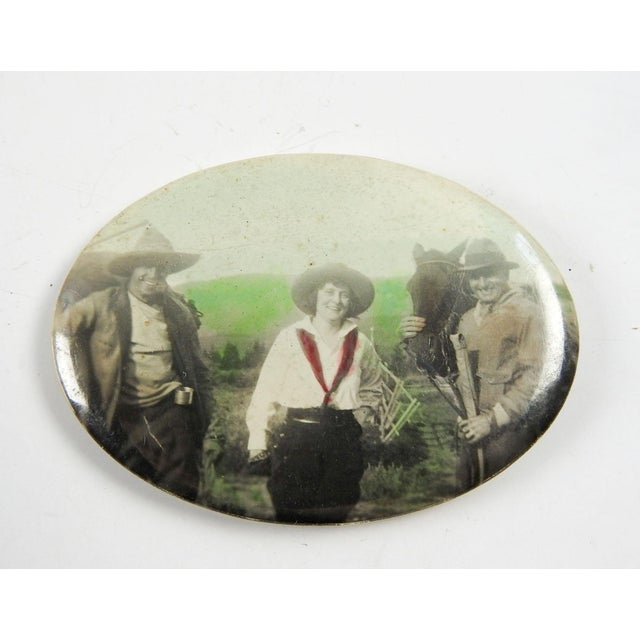 Lodge Vintage Cowgirl Pocket Mirror For Sale - Image 3 of 3