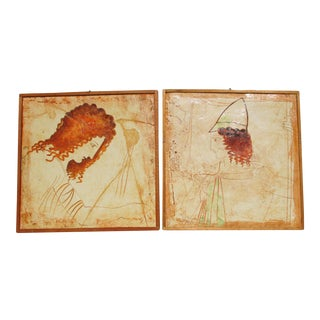 Greek Plaster Paintings - a Pair For Sale