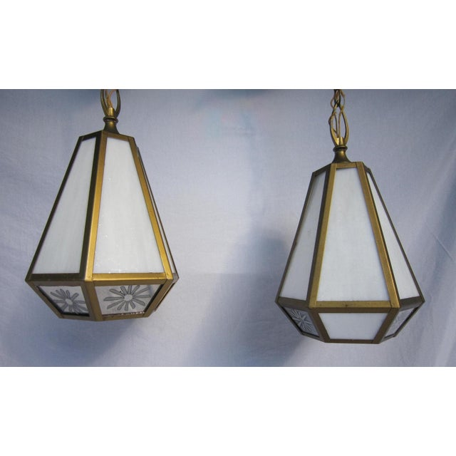 Mid Century Pendant Lights - Pair - Image 2 of 6