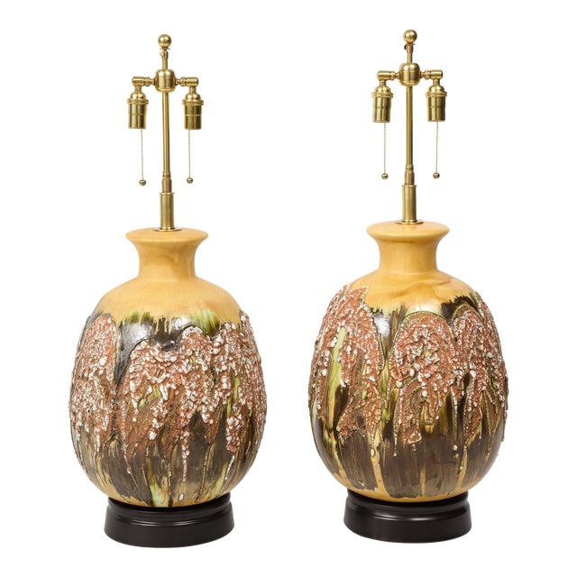 Extra Large Italian Volcanic Glazed Ceramic Lamps - a Pair For Sale