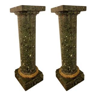 Louis XVI Monumental Louis XVI Style Green Marble / Malachite Pedestals - a Pair