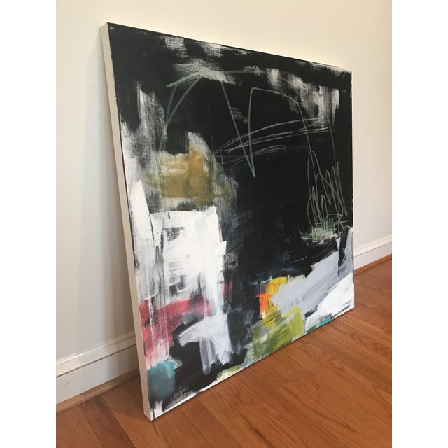 36 x 36 x 1.5, Acrylic and pastel on thick, gallery wrapped canvas, edges (will be) painted dark grey, back wired, ready...