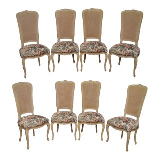 French Louis XV Style Custom Set of 8 Painted Cane Back Dining Chairs