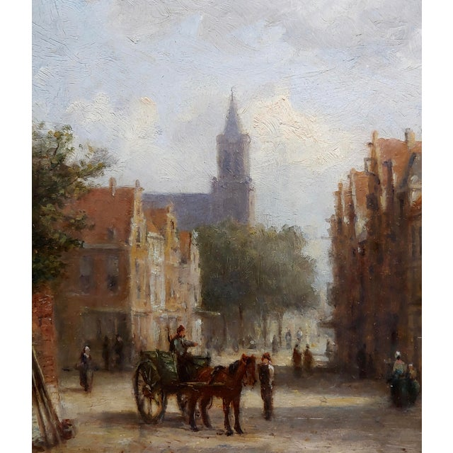 19th Century Johannes Frederick II Hulk -19th C. Early Market Day in Amsterdam-Oil Panting For Sale - Image 5 of 11