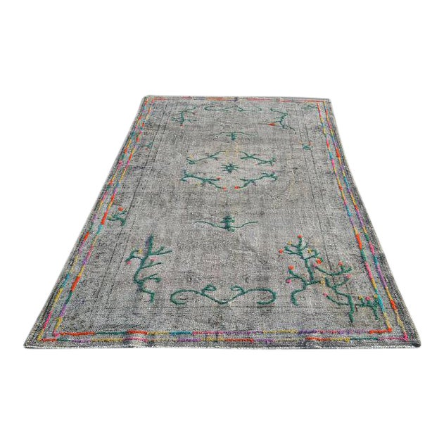 Tribal Decorative Vintage Area Carpet - 5′7″ × 9′1″ For Sale