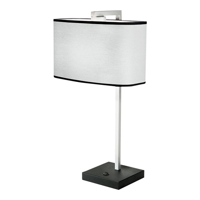 Satin Black and Aluminium Table Light For Sale - Image 4 of 4