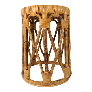 Mid 20th Century Vintage Burnt Bamboo and Split Cane Low Stool For Sale