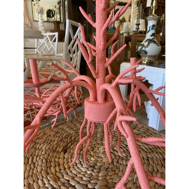 Modern Vintage Palm Beach Metal Coral 5-Light Chandelier For Sale - Image 3 of 12