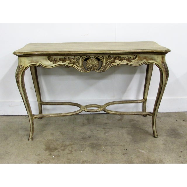 Louis XV Style Carved Wood Console table with shell motif and acanthus carved cabriolet legs antiqued, glazed and...