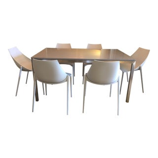 Modern Portica Fog Quartz Table & 6 Grey Hoop Chairs For Sale