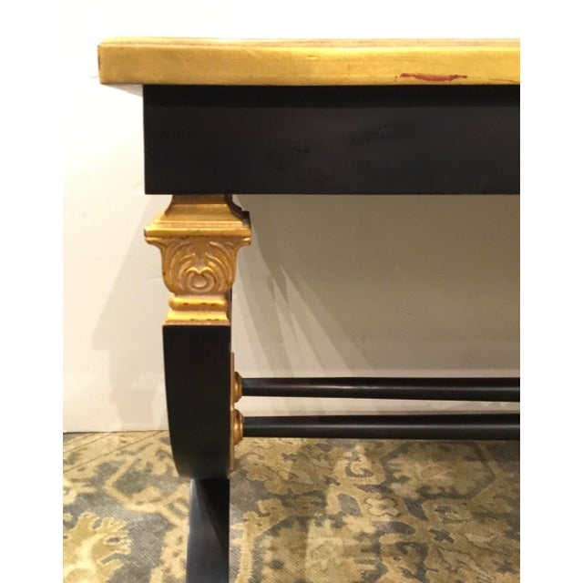 2010s Transitional Lillian August for Hickory White Black and Gold Ziecel Writing Desk For Sale - Image 5 of 11