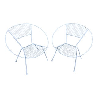 Mid-Century Modern Circular Shaped Patio Chairs -A Pair For Sale
