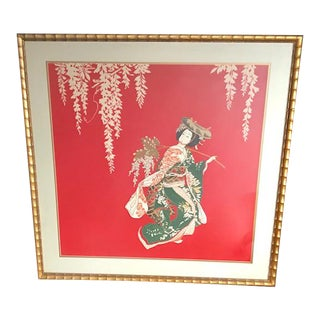 "34"" Large Vintage Japanese Red and Gold Hand Painted Silk Geisha Painting For Sale"