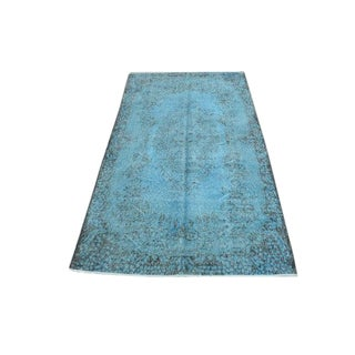 Turkish Handwoven Blue Antique Oushak Rug -- 3′11″ × 7′1″