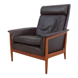 H.W. Klein for Bramin Distressed Leather & Teak Lounge Chair