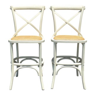 Vintage French Country White Rye Seat Bar Stools - A Pair For Sale