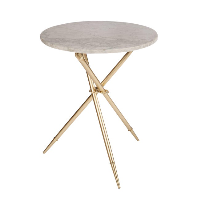 Contemporary Foldable Ethelle Marble Side Table For Sale - Image 3 of 4