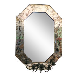 Antique Venetian Mirror With Candle Holders For Sale