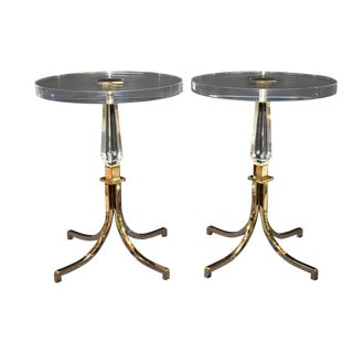 1961 Pair of Regency Style Lucite and Brass Side Tables by Charles Hollis Jones..signed For Sale