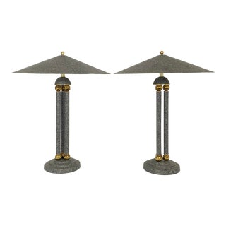 Postmodern Metal With Marble Finish and Brass Sphere Lamps - a Pair For Sale