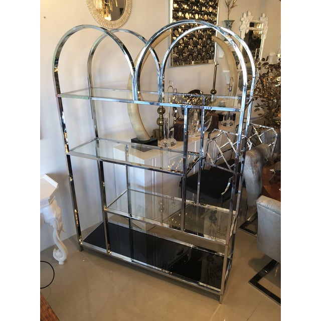 Gold Vintage Arched Chrome Glass Display Shelf Shelves Etagere For Sale - Image 8 of 13